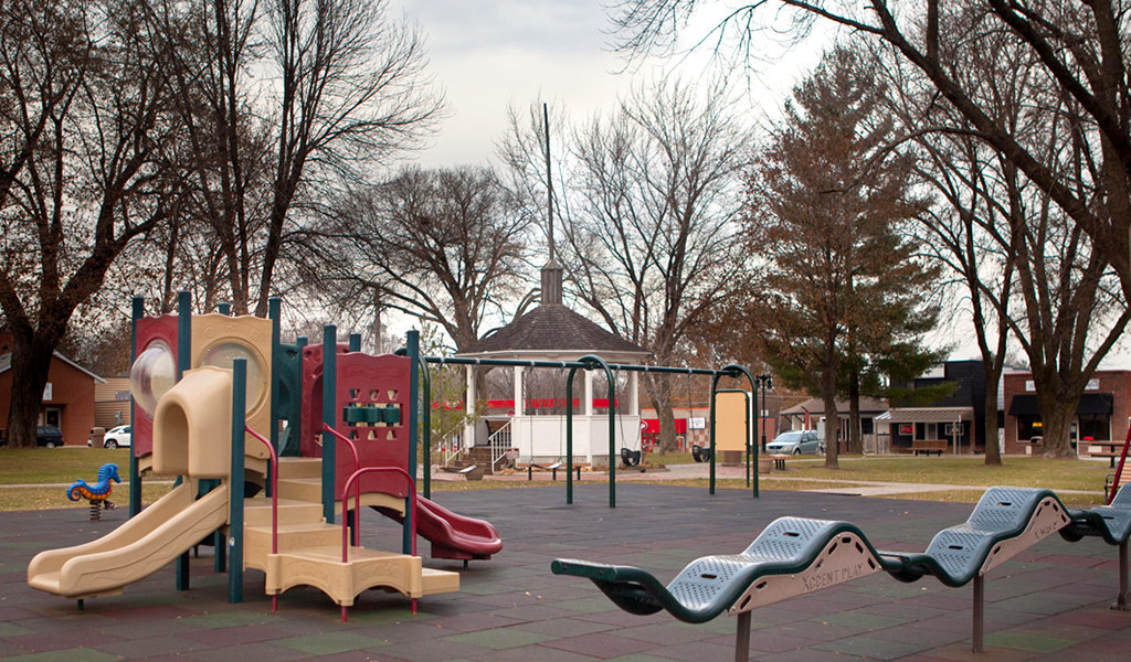 park with playground equiptment