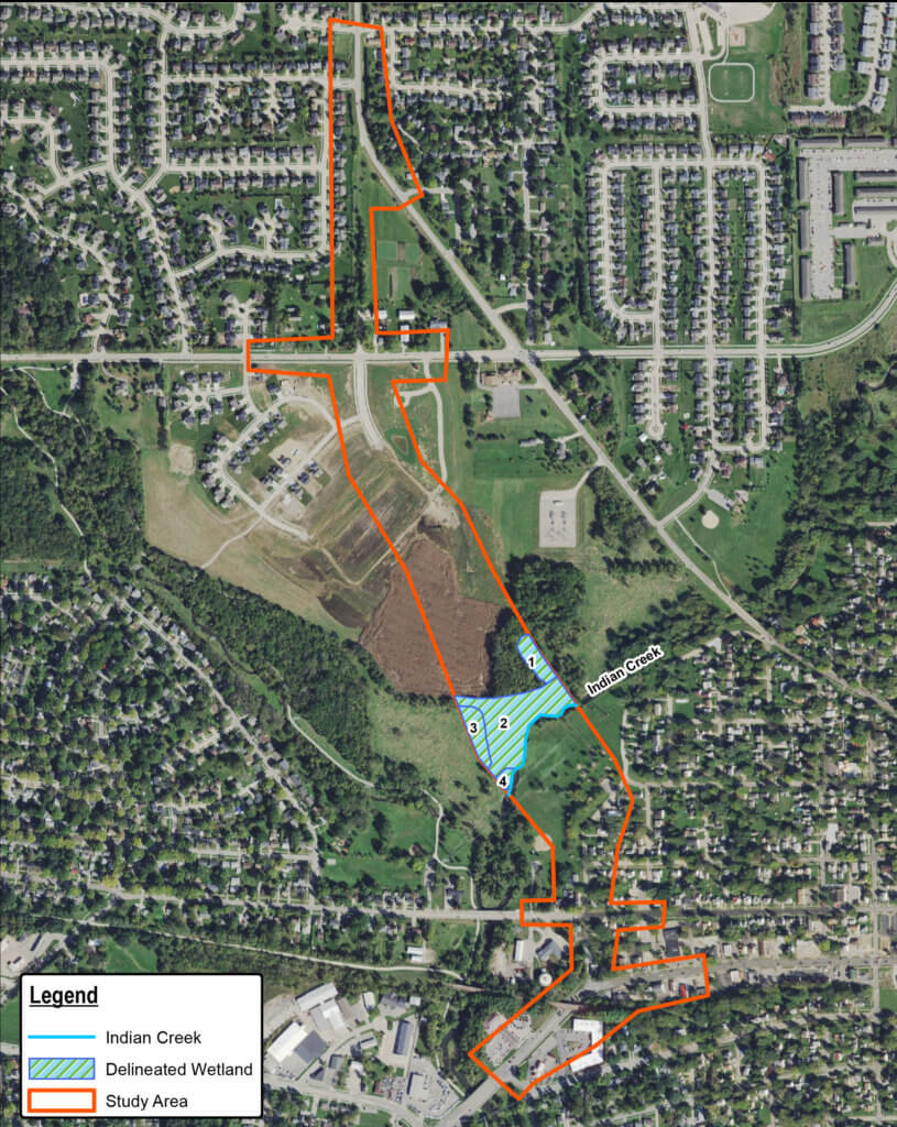 wetland delineation map of alburnett rd extension in marion, ia