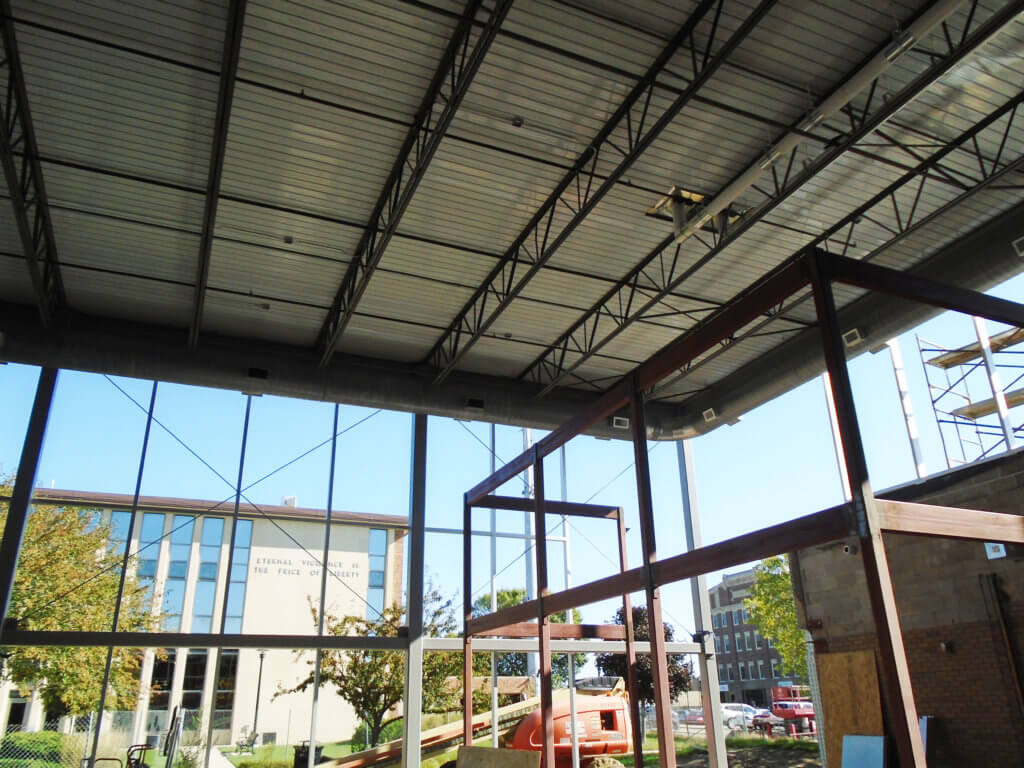 x braced steel framing reinforces glass walled structure