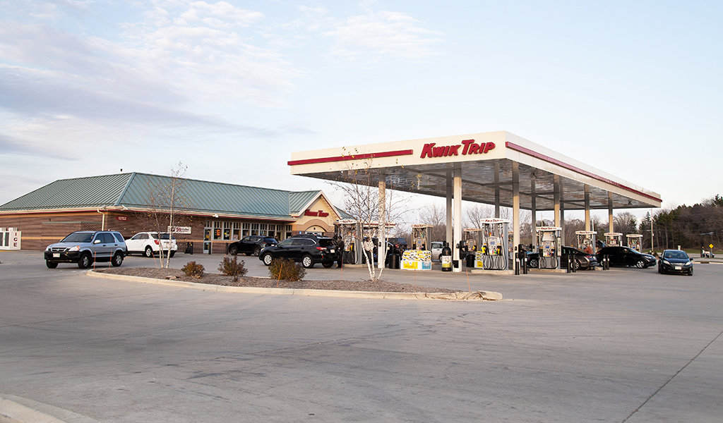cars entering and exiting recently completed gas station
