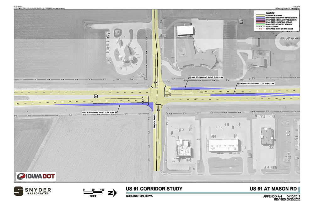 aerial view of US-61 and mason road proposed corridor improvements