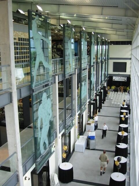 Atrium of the University of Iowa Hall of Fame as the open house is set up