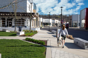 lady walking dog through mall open space