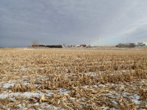 winter cornfields with high school in the distance