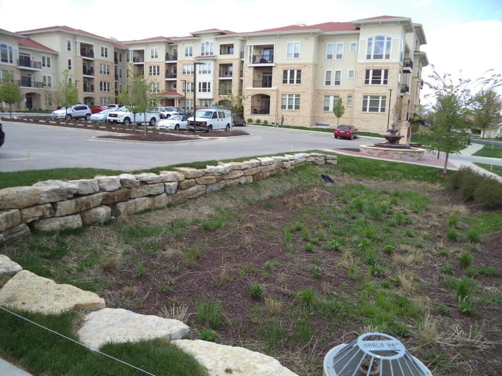 detention basin outside of apartment housing options