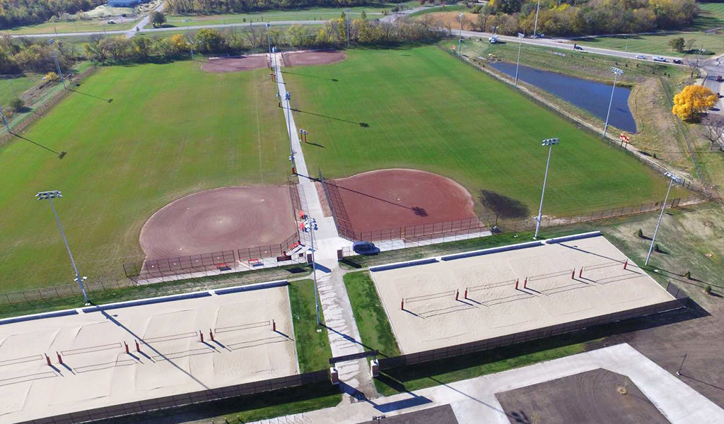 Aerial view of ISU southeast sports complex softball fields