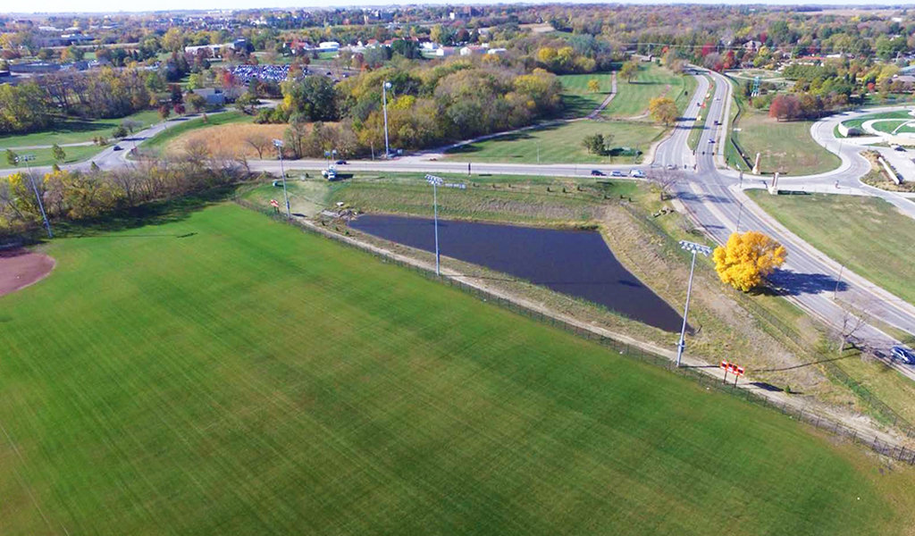 Aerial view of ISU southeast sports complex stormwater detention basin