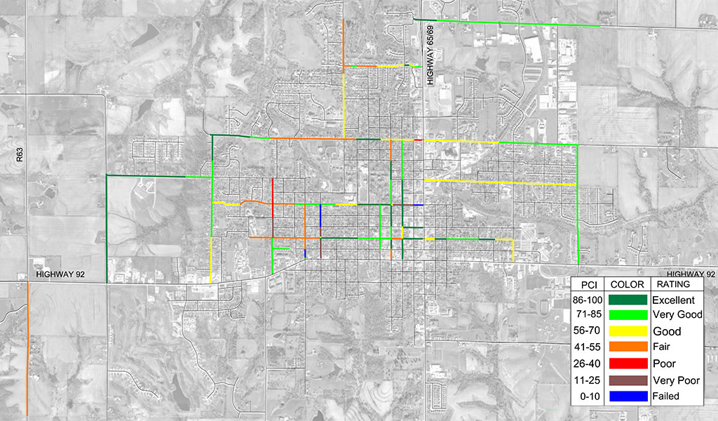 aerial map view of indianola pavement pci summary