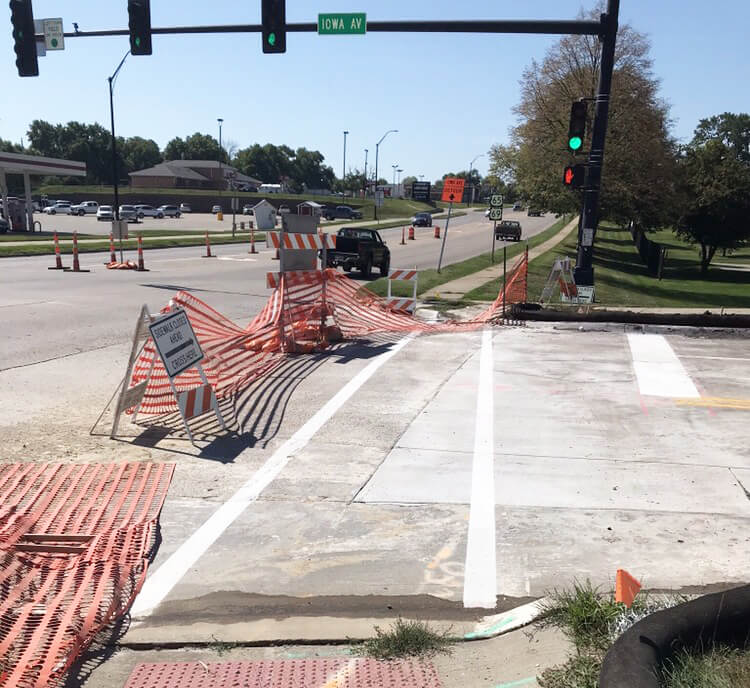signaled intersection partially closed while construction is completed
