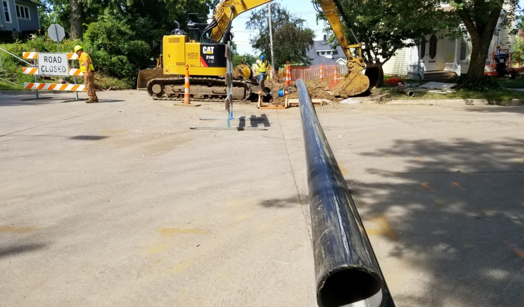 lead tubing being placed before pipe
