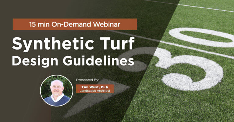 webinar graphic for synthetic turf design guidelines