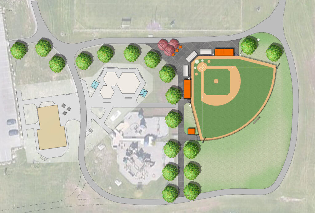 aerial plan view rendering of dane county miracle field