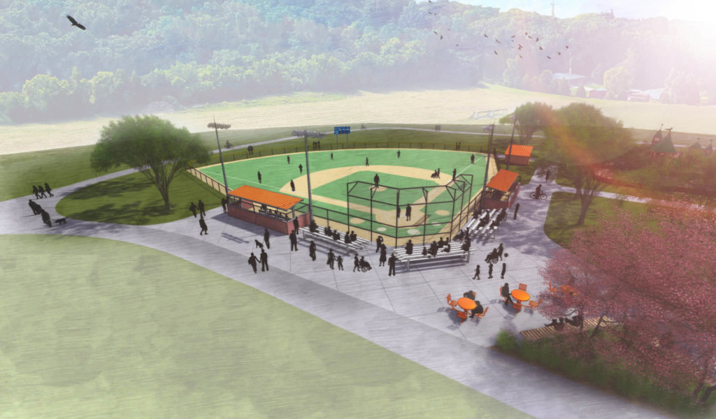 3-D aerial view rendering of dane county miracle field