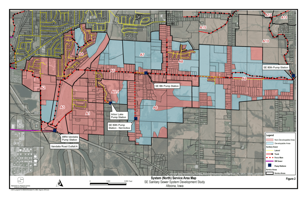 blue and red map of sewer system service area