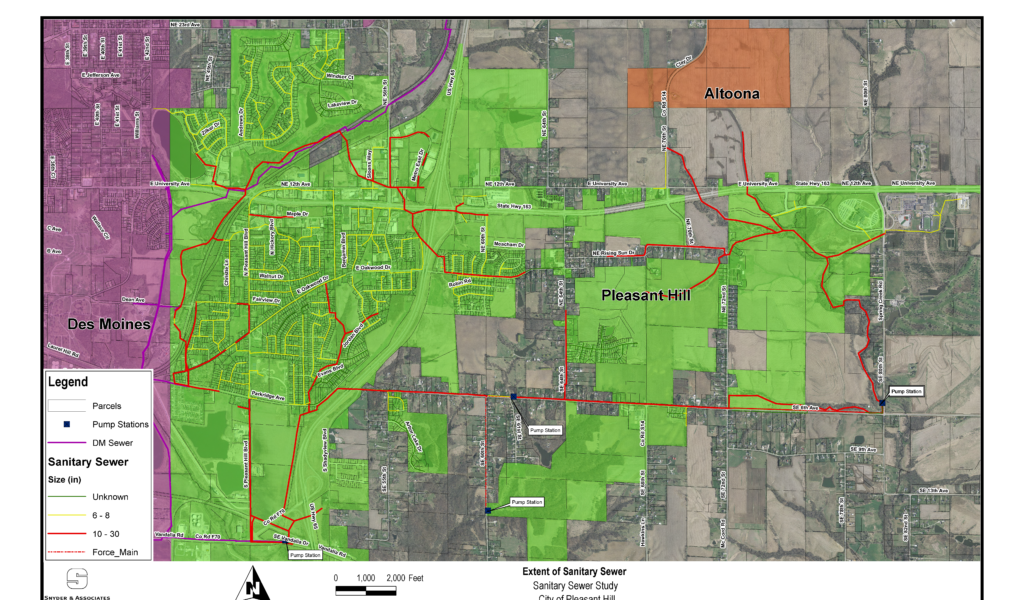 lime green map of pleasant hill sewer system and neighboring communities