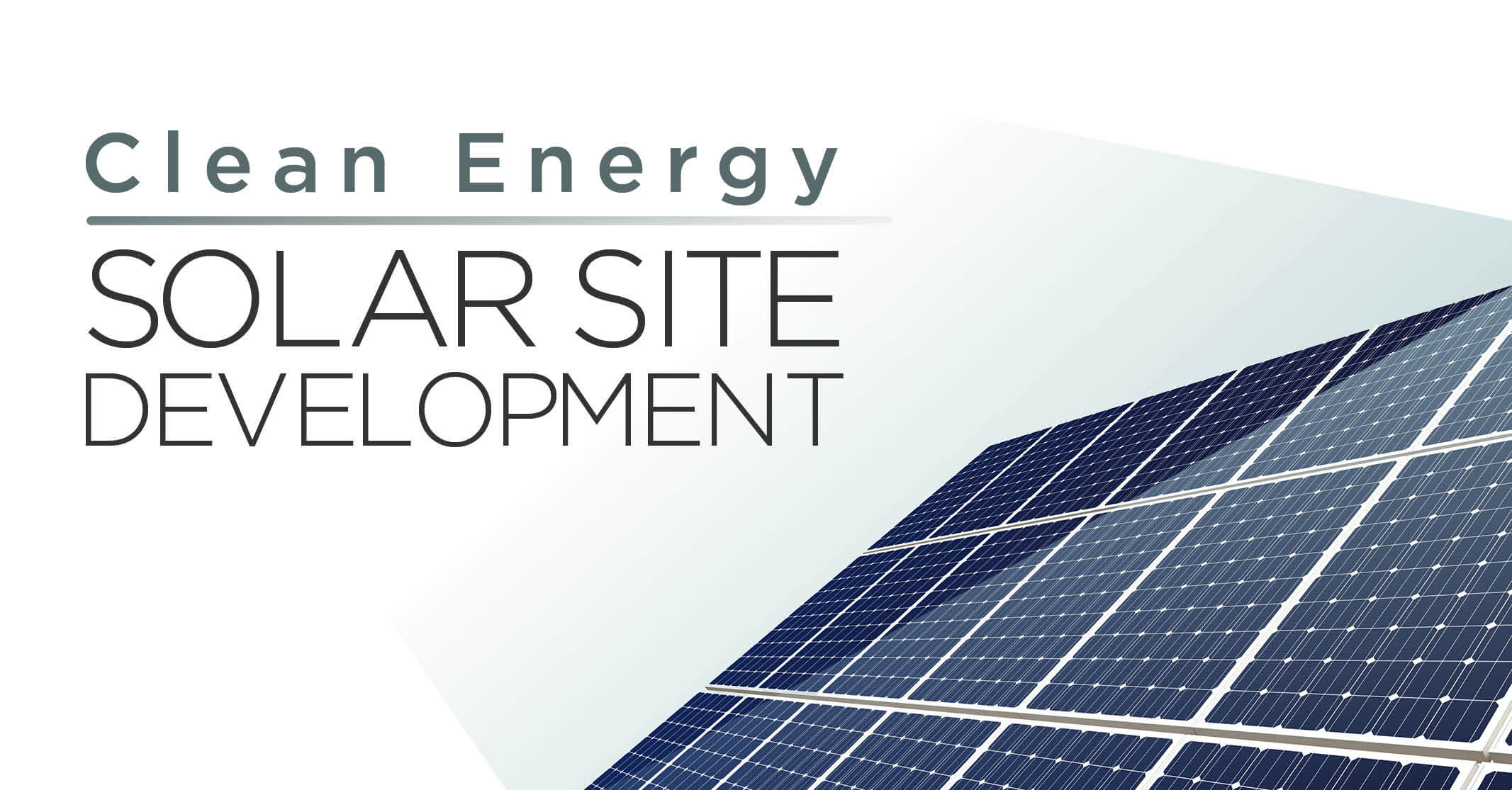 clean energy solar site development titled with solar panel illustration
