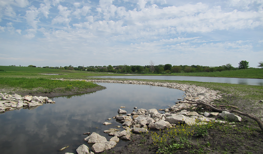 finished stream with erosion control practices in place