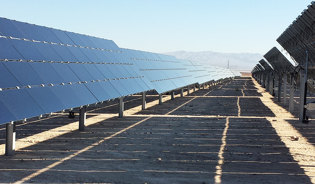 landscape view looking down solar array row