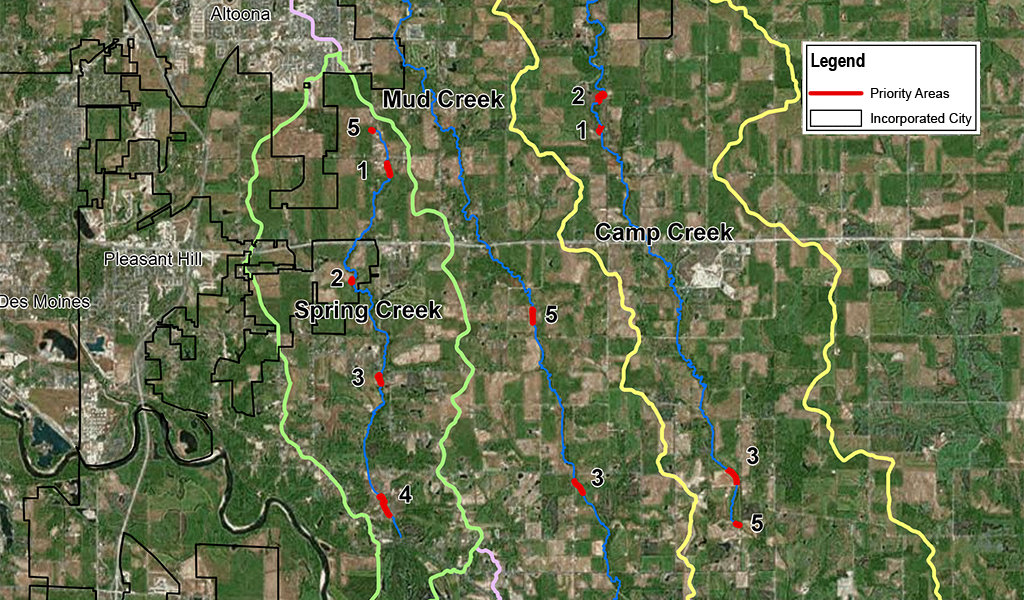 Mud Camp Spring Creek Watershed Overall Prioritization Map