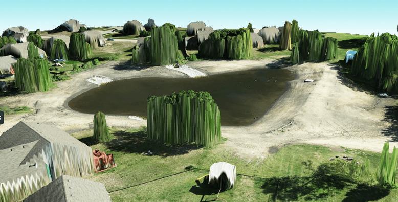 Drone aerial photos create 3D visual of pond restoration area