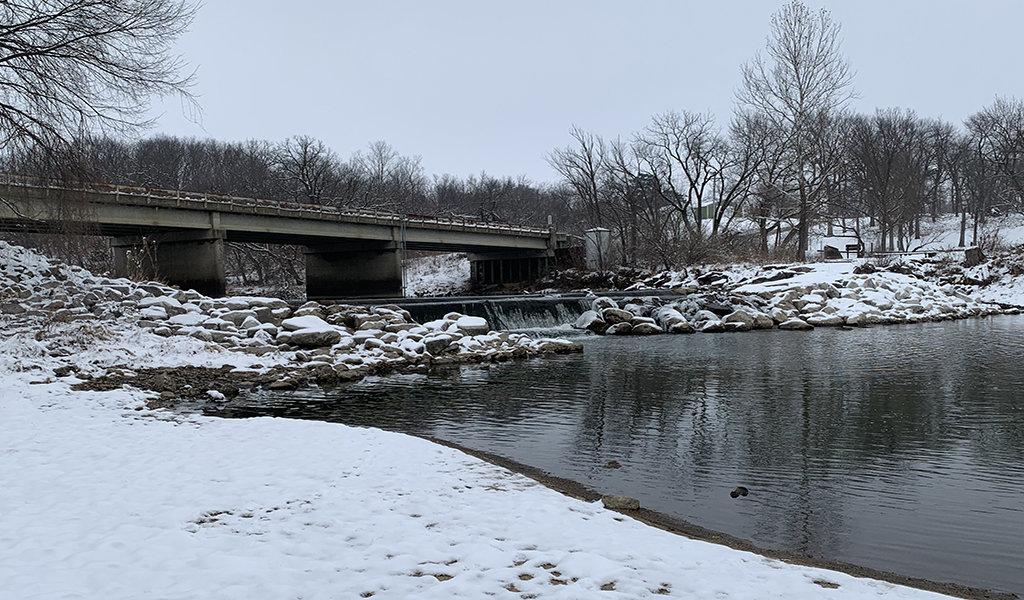winter scene at lennon mill dam before construction