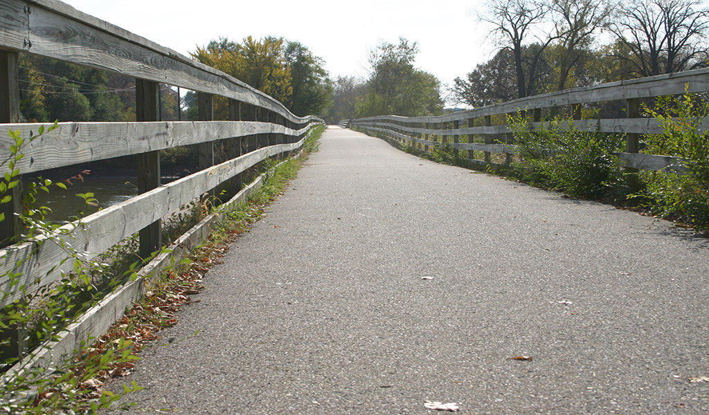 looking down the newly paved cedar valley nature trail