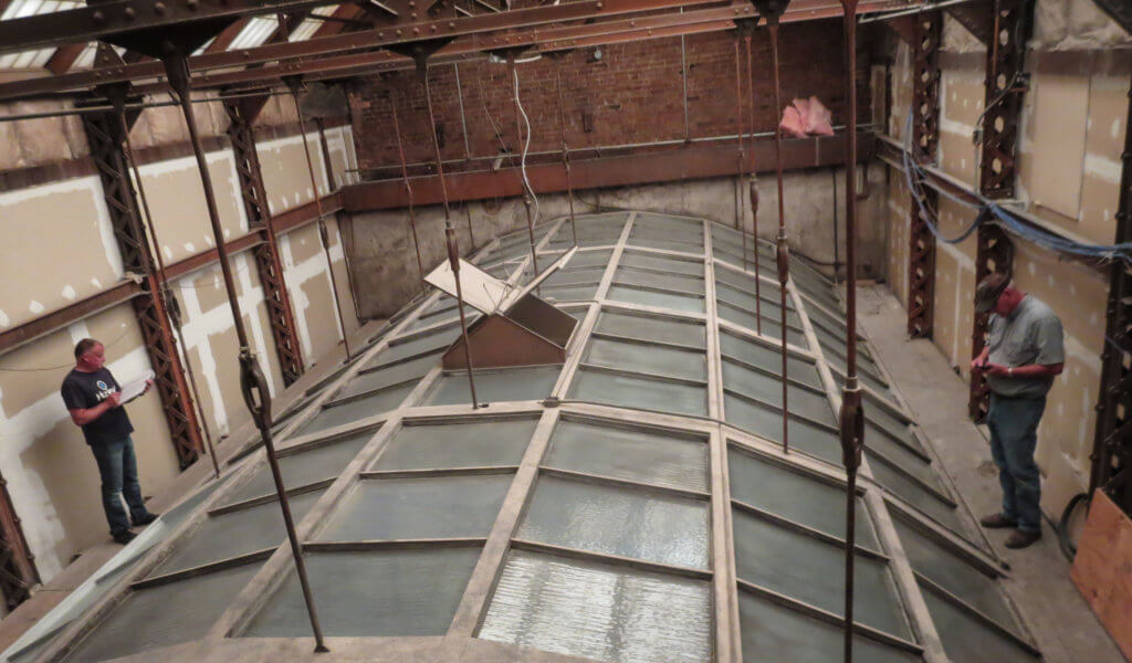Old skylight being assessed