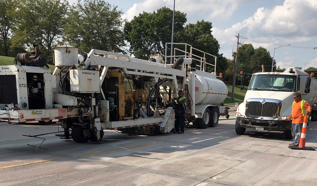 Diamond grinding construction truck.
