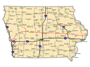 Map of US 30 Iowa